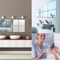 16 Sheets Flexible Mirror Sheets Mirror Wall Stickers Self Adhesive Plastic Mirror Tiles for Home Decor, 6 Inch by 6 Inch