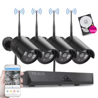TECBOX 4CH Wireless Security Camera System 720P HDMI NVR with 500GB Hard Drive, 4 x 720P HD Indoor/Outdoor Wireless Cameras Night Vision No Video Cable Wifi Security Camera