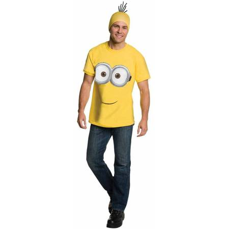 Minions Movie Minion Shirt and Headpiece Men's Adult Halloween Costume - Evil Minions Halloween Costume