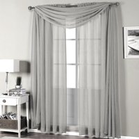 """Qutain Linen Solid Viole Sheer Curtain Window Panel Drapes Set of Two (2) 55"""" x 84 inch - Silver"""