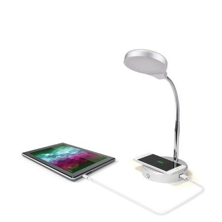 Mainstays LED Desk Lamp with Qi Wireless Charging and USB Port ()