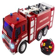 Remote Control Fire Truck Rescue Heroes Fully Functional With Lights And Music Battery Powered Perfect RC Toy Firetruck for Kids Boys And Girls Red