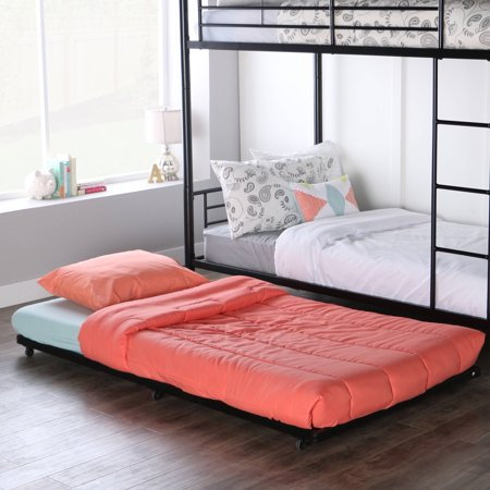 Walker Edison Twin Roll-Out Metal Trundle Bed Frame -