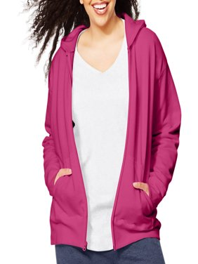 Women's Plus-Size Fleece Zip Hood Jacket