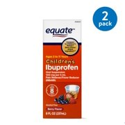 (2 Pack) Equate Childrens Ibuprofen Berry Suspension, 100 mg, 8 Fl Oz