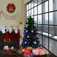 Costway 4FT Pre-Lit Fiber Optic Artificial Christmas Tree w/Multicolor Lights Snowflakes