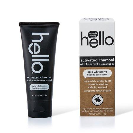 Hello Activated Charcoal Fluoride Whitening Toothpaste, With Fresh Mint and Coconut Oil, Vegan & SLS Free