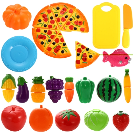 Play Food,24Pcs Cutting Food,Pretend Food Set,Kitchen Toy Food Fun Cutting Fruits and Veggies with Pizza Playset for Kids (Halloween Fun Food For Kids)