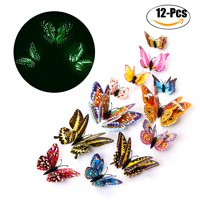 Outgeek 12 PCS Wall Stickers Creative Luminous Double Layers 3d Butterfly Wall Stickers Decals Wall Art Decors for Home Bedroom Living Room TV Background Wall Kitchen Fridge Window Kids