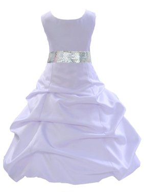 Ekidsbridal Formal Satin White Flower Girl Dress Sequin Mesh Sash Bridesmaid Wedding Pageant Toddler Recital Easter Holiday First Communion Birthday Baptism Occasions 2 4 6 8 10 12 14 16 806s