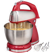 Hamilton Beach Classic Hand and Stand Mixer, Red (64654)