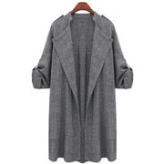 84fc955ec2a Plus Size Womens Autumn Fall Winter Outwear Long Trench Coat Overcoat  Jackets Cardigan Duster Tops