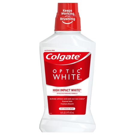 Colgate Optic White Whitening Mouthwash, Fresh Mint - 473mL, 16 fluid ounce