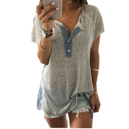 Plus Size Womens Short Sleeve Loose Casual Button Blouse T Shirt Tank Tops ()