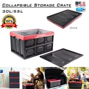55L Collapsible Plastic Storage Box Durable Stackable Folding Utility Crates with Lid Black Color
