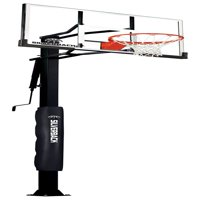 "Silverback 60"" In-Ground Basketball System with Adjustable-Height Tempered Glass Backboard and Pro-Style Breakaway Rim"