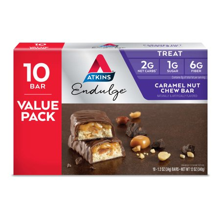 Atkins Endulge Caramel Nut Chew Bar, 1.20oz, 10-pack (Treat)