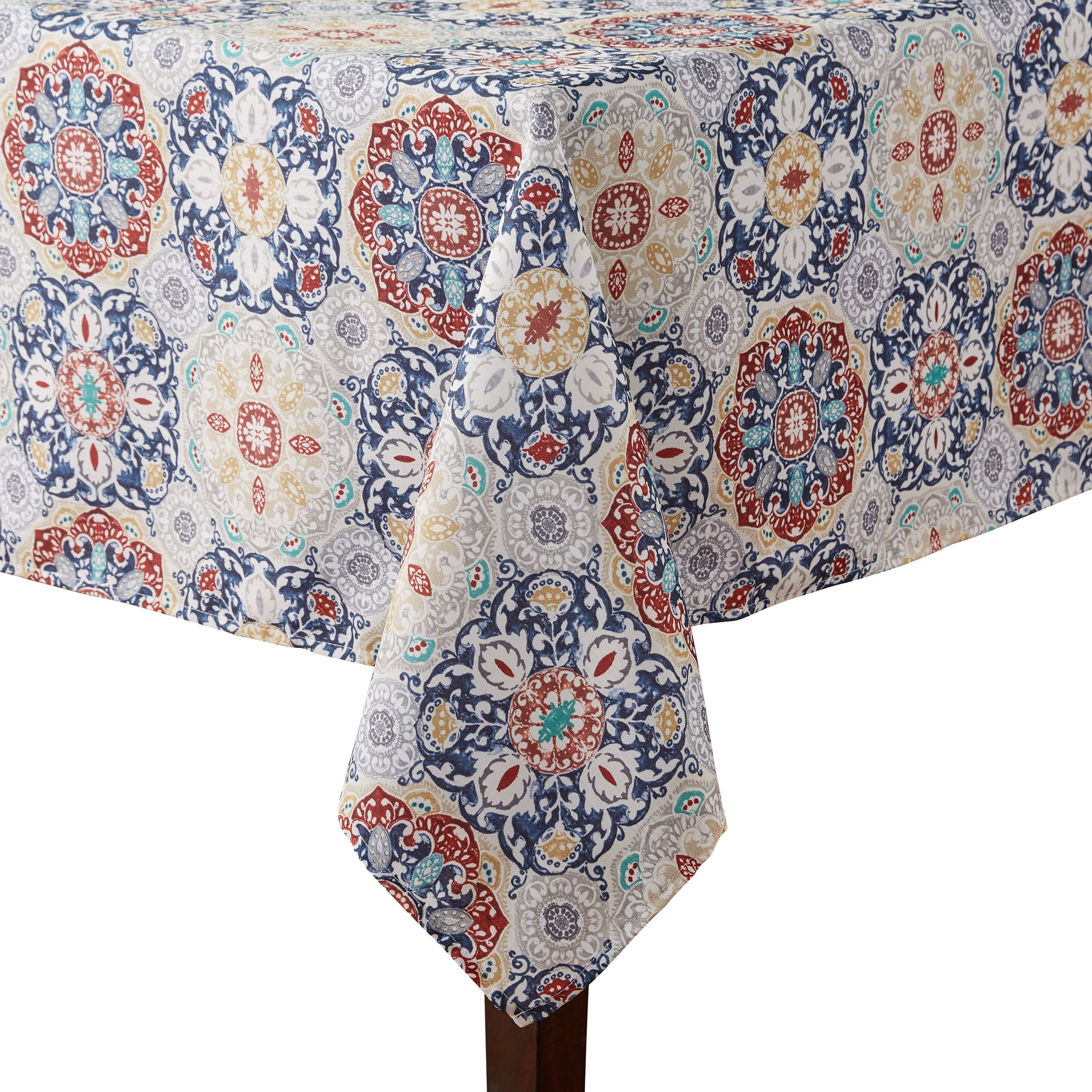 Mainstays Painted Tile Fabric Tablecloth, 52