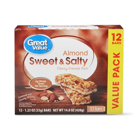 Great Value Sweet & Salty Chewy Granola Bars, Almond, 12 Count