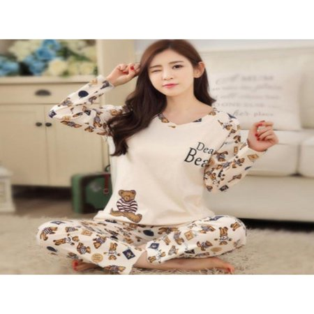Funcee Women Cartoon Print Long Sleeve Fall Winter Pajama Sleepwear