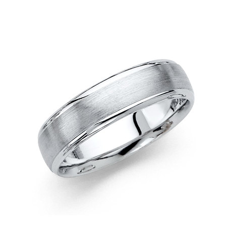 14k White Gold Dove Ring (FB Jewels 14K White Gold Men's Solid 6mm Brushed Domed Traditional Classic Comfort Fit Wedding Ring Band Size 5 )