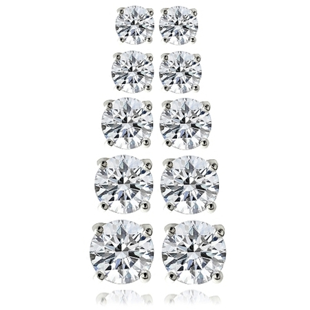 10.44 Carat T.G.W. CZ Sterling Silver Stud Earrings, Set of (Sterling Silver Earring Jackets For Diamond Studs)