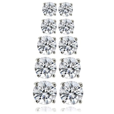 10.44 Carat T.G.W. CZ Sterling Silver Stud Earrings, Set of 5