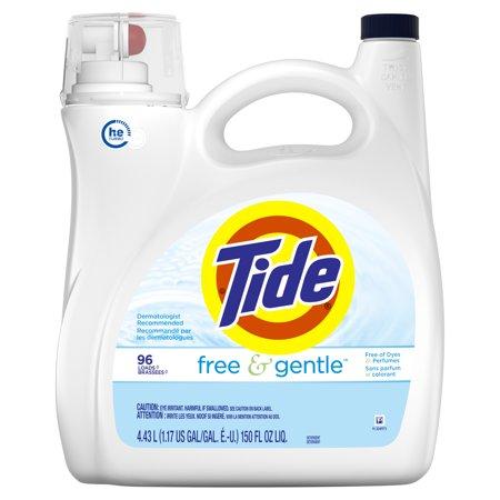 Free Snap (Tide Free & Gentle, HE Turbo Clean, Liquid Laundry Detergent, 96 Loads 150 fl oz)