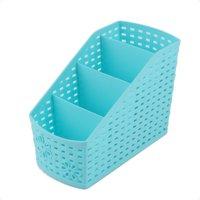 Unique Bargains Home Office Blue Plastic Desktop Table Sundries 4 Slots Storage Drawer Divider Box