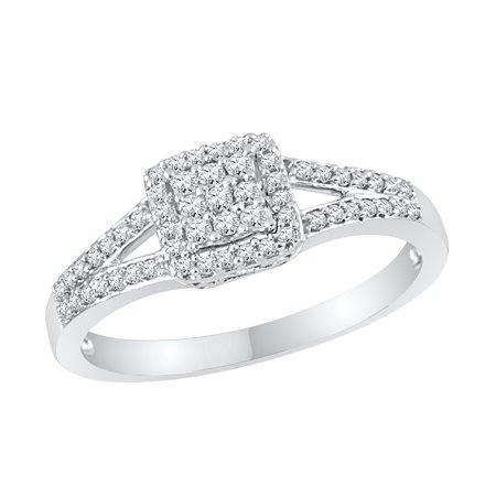 Diamond Square Split Shank Engagement Ring in 14k White Gold (14k White Gold Shank)