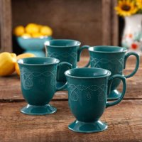 Cowgirl Lace 4-Piece Mug Set, Teal, Stoneware By The Pioneer Woman