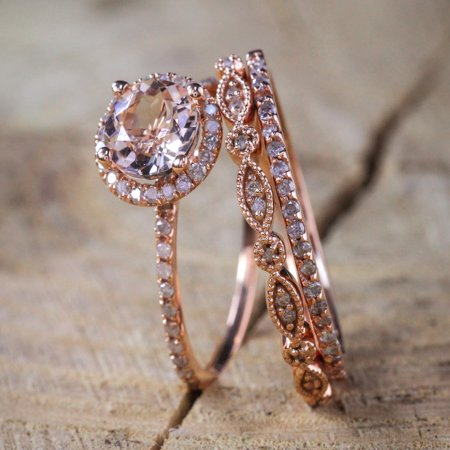 2 carat Antique Milgrain Round Morganite and Diamond Trio Ring Set in 10k Rose Gold with One Halo Engagement Ring and 2 Wedding Bands