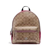 f9a606b5f3f6a NEW WOMENS COACH (F32200) SIGNATURE KHAKI CERISE PINK MEDIUM CHARLIE  BACKPACK