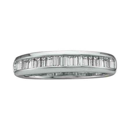 - Size 7 - 14k White Gold Baguette Diamond Band Wedding Anniversary Ring (1/2 Cttw)
