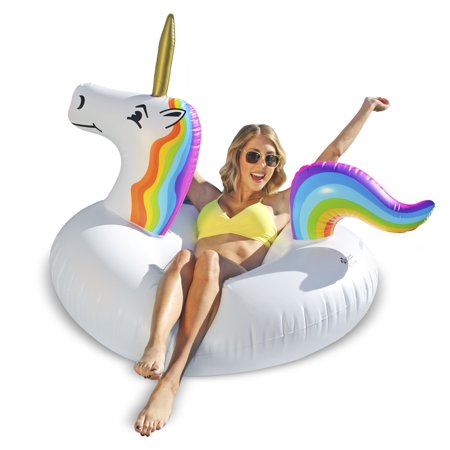 GoFloats Unicorn Party Tube Inflatable Swimming Pool Raft, Float In Style, for Adults and - Party Tubes