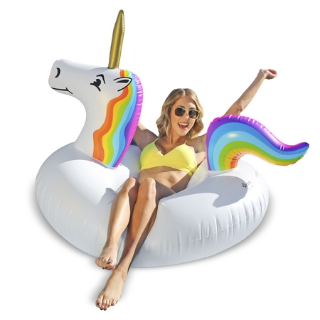 GoFloats Unicorn Party Tube Inflatable Swimming Pool Raft, Float In Style, for Adults and Kids