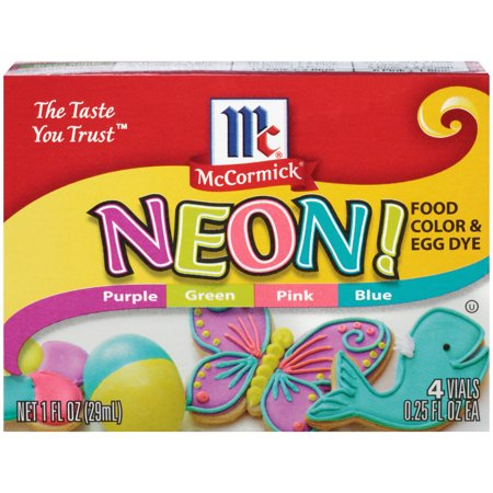 (2 Pack) McCormick Neon Assorted Food Color & Egg Dye, 1 fl oz (Neon Color Explosion)