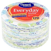 Great Value Everyday Paper Plates, Lunch, 170 Count