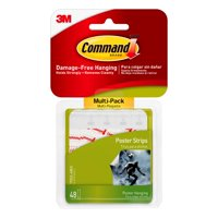 3M Command Poster Strips, White, 48 strips, Hangs 12 posters (17024-48ES)