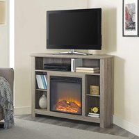 WE Furniture 44-inch Wood Corner Highboy Fireplace TV Stand - Driftwood