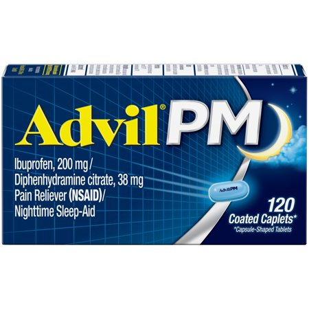 - Advil PM (120 Count) Pain Reliever / Nighttime Sleep Aid Coated Caplet, 200mg Ibuprofen, 38mg Diphenhydramine
