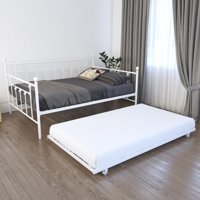 RealRooms Maya Full Size Daybed and Twin Size Trundle, White Metal