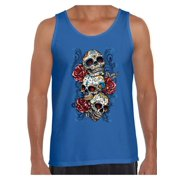 456c2ae9be82f Awkward Styles Three Sugar Skull Tank Top for Men Sugar Skull Tank Day of  the Dead