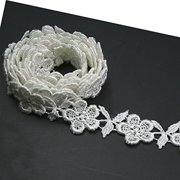 5dc3595389 Altotux 3 4 inches White and Ivory Rayon Floral Flower Venice Lace Trim By 2