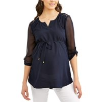 Oh! Mamma Maternity Lace Shoulder V-notch Neck Top - Available in Plus Sizes