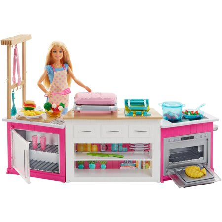 barbie ultimate kitchen cooking baking playset with chef doll rh walmart com