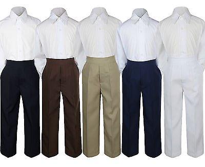 2pc Boy Toddler Teen Kid Formal Party Tuxedo Suit White Shirt & Pants set Sm-20 ()