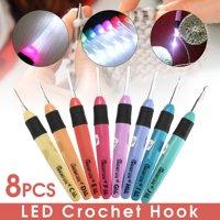 8PCS LED Crochet Hook Set Light Up Knitting Needles Weave Sewing Tool Craft Accessories 2.5mm-6mm