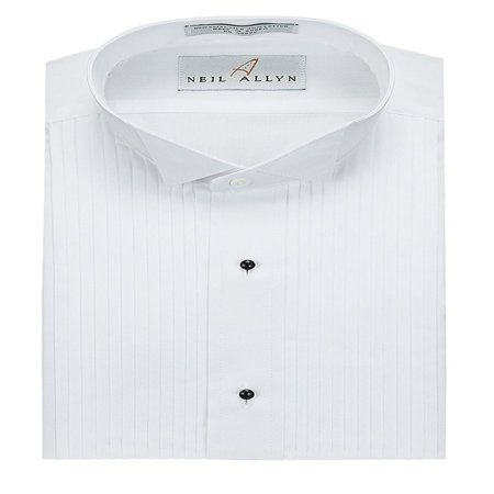 Wing Tuxedo Shirt - Neil Allyn Men's Tuxedo Shirt Poly/Cotton Wing Collar 1/4 Inch Pleat