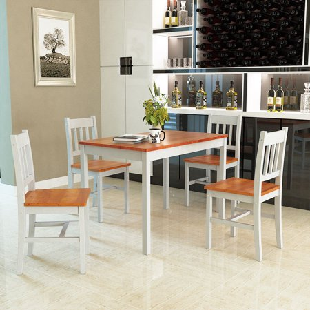 Costway 5pcs Pine Wood Dinette Dining Set Table And 4 Chairs Home